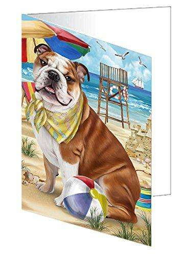 Pet Friendly Beach Bulldog Greeting Card GCD49913