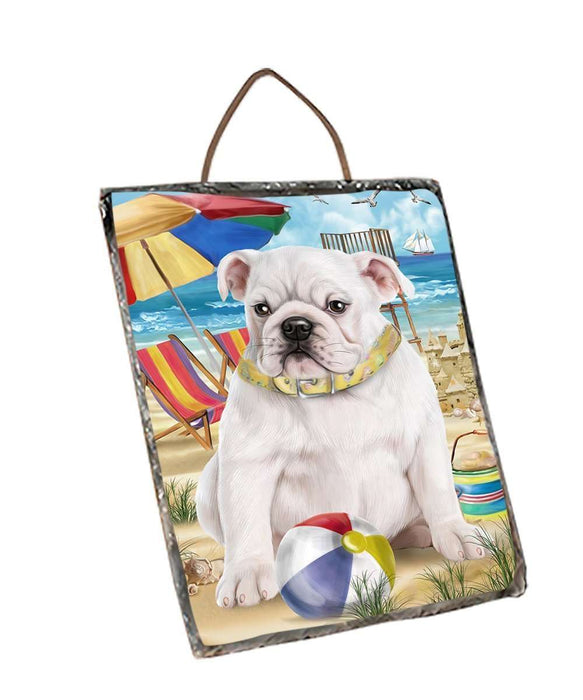 Pet Friendly Beach Bulldog Wall Décor Hanging Photo Slate SLTH48624
