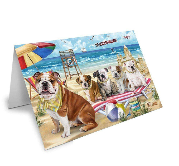 Pet Friendly Beach Bulldogs Greeting Card GCD49898