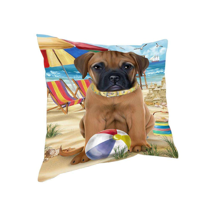 Pet Friendly Beach Bullmastiff Dog Pillow PIL55932