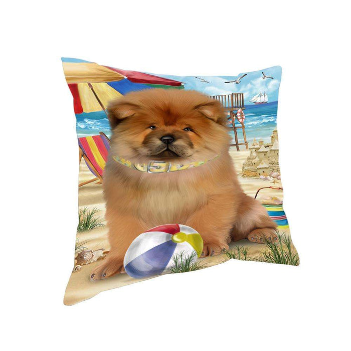 Pet Friendly Beach Chow Chow Dog Pillow PIL55980