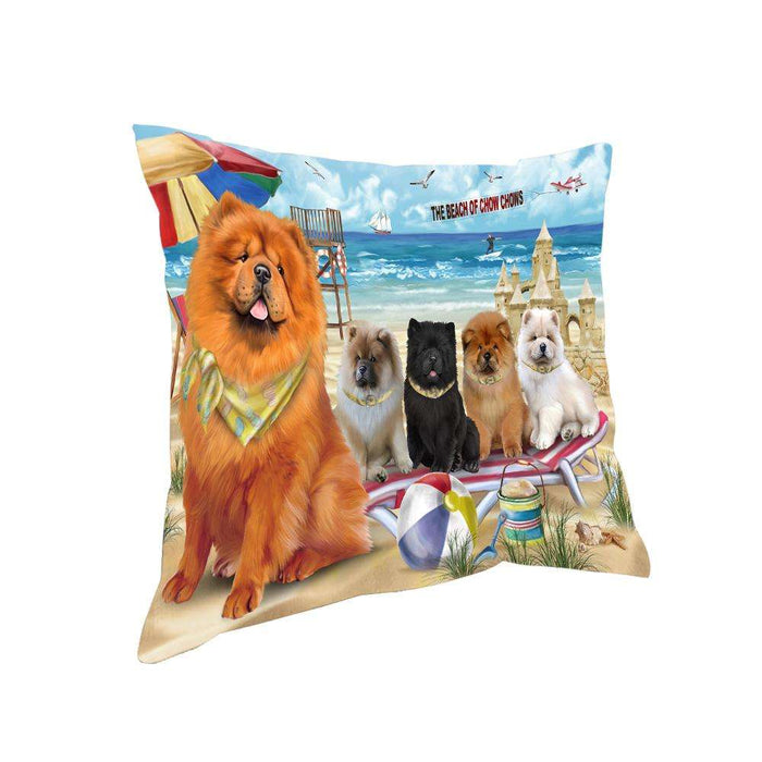 Pet Friendly Beach Chow Chows Dog Pillow PIL55968