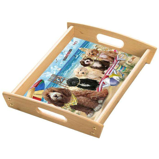 Pet Friendly Beach Cockapoos Dog Wood Serving Tray with Handles Natural TRA48802
