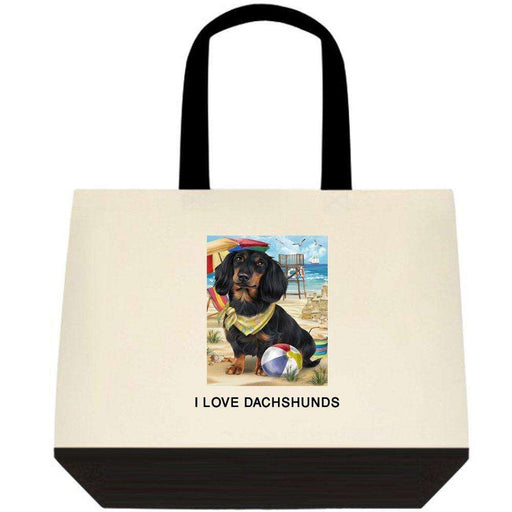 Pet Friendly Beach Dachshund Dog Two-Tone Deluxe Classic Cotton Tote Bag TTT48452
