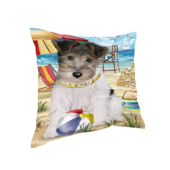 Pet Friendly Beach Fox Terrier Dog Pillow PIL55996