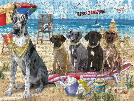 Pet Friendly Beach Great Danes Dog Puzzle with Photo Tin PUZL49647