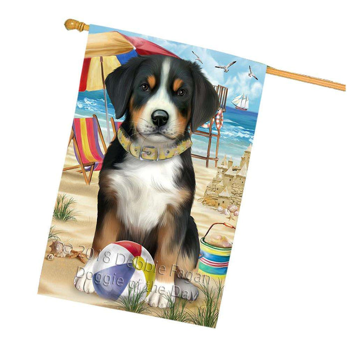 Pet Friendly Beach Greater Swiss Mountain Dog House Flag FLG51705