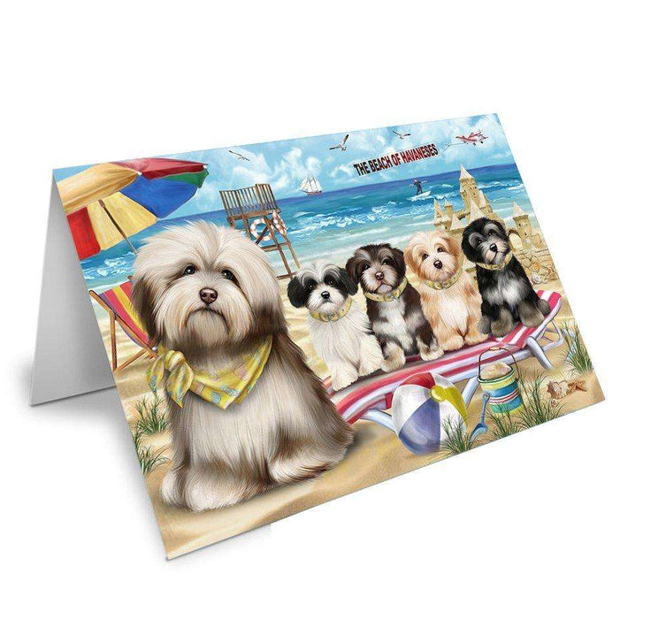 Pet Friendly Beach Havaneses Dog Greeting Card GCD49988