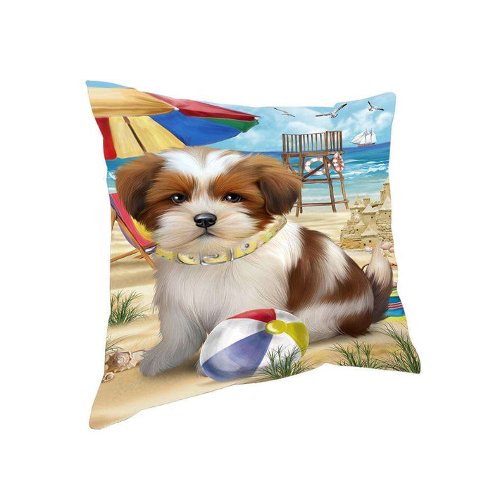 Pet Friendly Beach Lhasa Apso Dog Pillow PIL56060