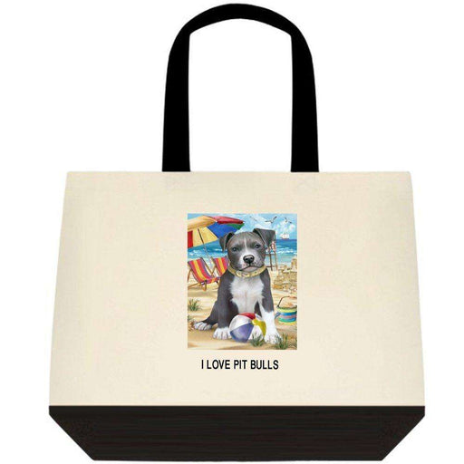 Pet Friendly Beach Pit Bull Dog Two-Tone Deluxe Classic Cotton Tote Bag TTT48473