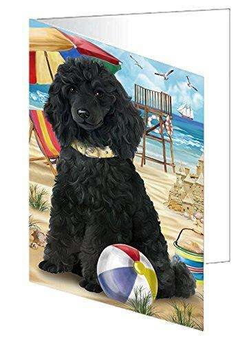 Pet Friendly Beach Poodle Dog Greeting Card GCD50036