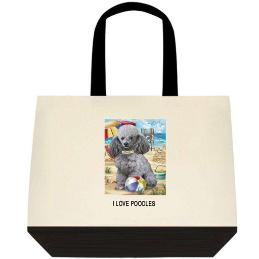 Pet Friendly Beach Poodle Dog Two-Tone Deluxe Classic Cotton Tote Bag TTT48479