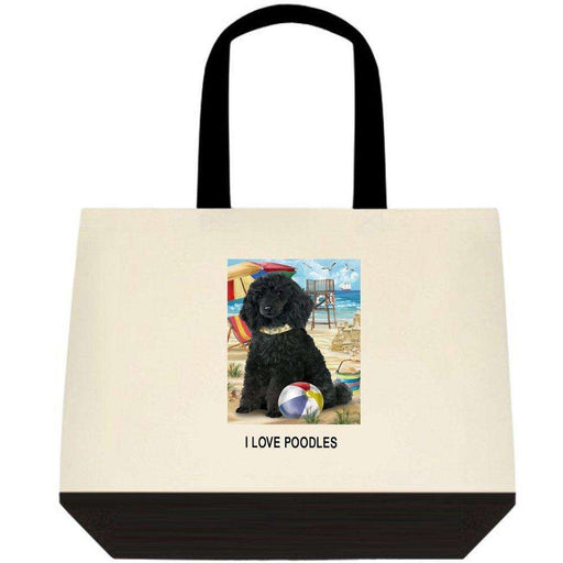 Pet Friendly Beach Poodle Dog Two-Tone Deluxe Classic Cotton Tote Bag TTT48482