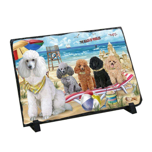 Pet Friendly Beach Poodles Dog Photo Slate SLT48665
