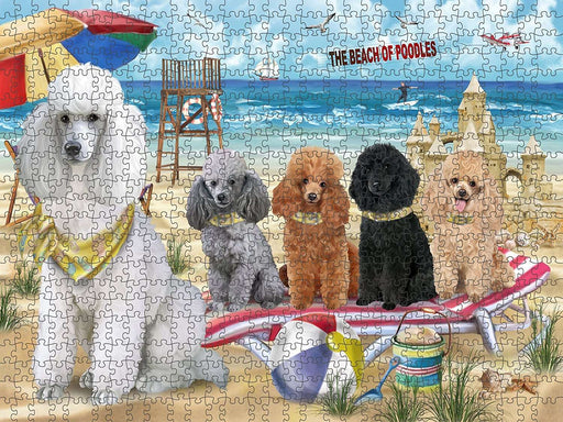 Pet Friendly Beach Poodles Dog Puzzle with Photo Tin PUZL49701