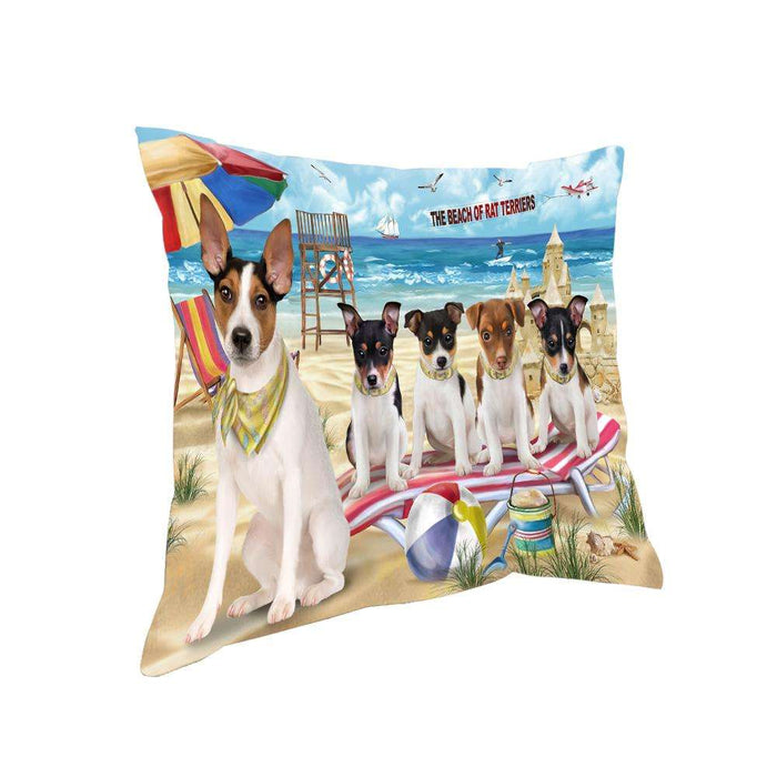 Pet Friendly Beach Rat Terriers Dog Pillow PIL56160