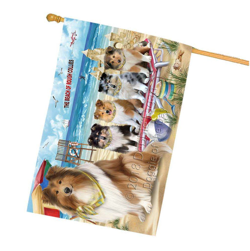 Pet Friendly Beach Rough Collies Dog House Flag FLG54377