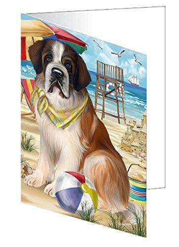 Pet Friendly Beach Saint Bernard Dog Greeting Card GCD50075