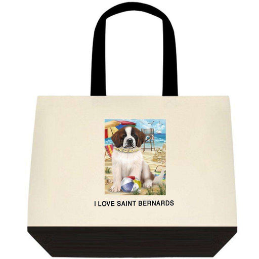 Pet Friendly Beach Saint Bernard Dog Two-Tone Deluxe Classic Cotton Tote Bag TTT48491