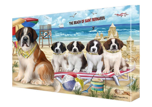 Pet Friendly Beach Saint Bernards Dog Canvas Wall Art CVS53166