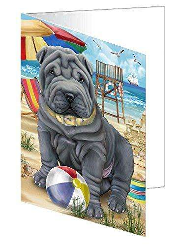 Pet Friendly Beach Shar Pei Dog Greeting Card GCD50108
