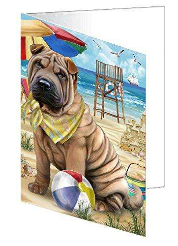 Pet Friendly Beach Shar Pei Dog Greeting Card GCD50111