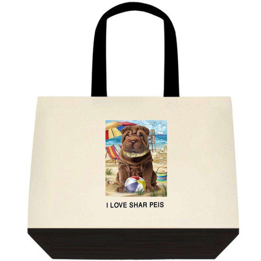 Pet Friendly Beach Shar Pei Dog Two-Tone Deluxe Classic Cotton Tote Bag TTT48504