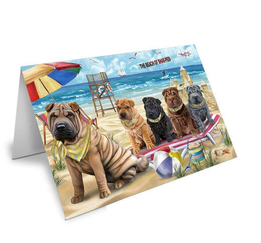 Pet Friendly Beach Shar Peis Dog Greeting Card GCD50096