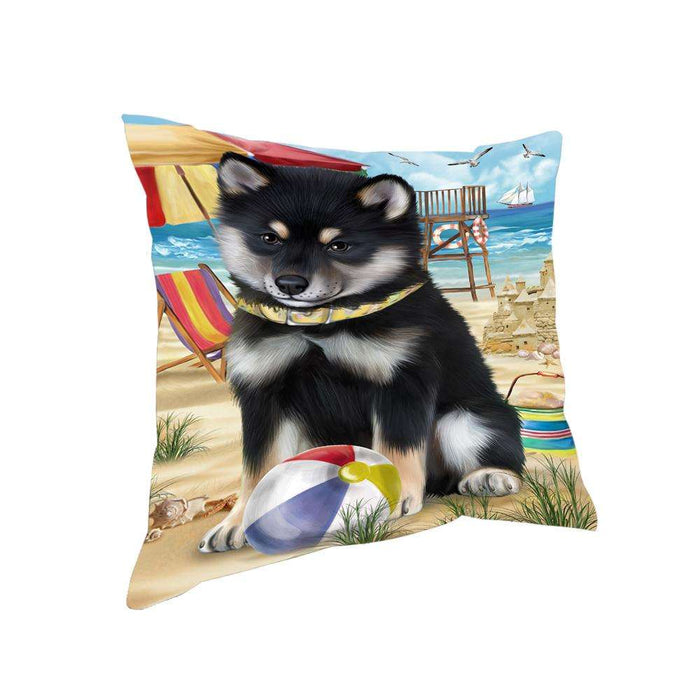 Pet Friendly Beach Shiba Inu Dog Pillow PIL56220