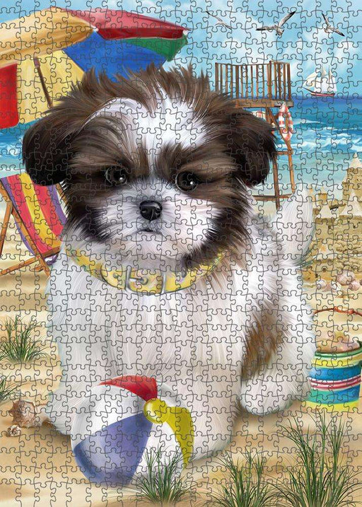 Pet Friendly Beach Shih Tzu Dog Puzzle with Photo Tin PUZL53994