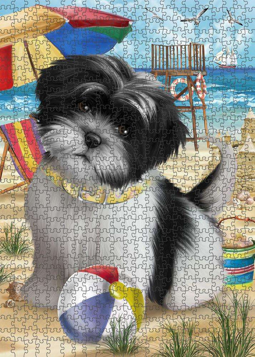 Pet Friendly Beach Shih Tzu Dog Puzzle with Photo Tin PUZL54000