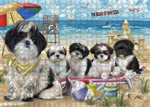 Pet Friendly Beach Shih Tzus Dog Puzzle with Photo Tin PUZL53988