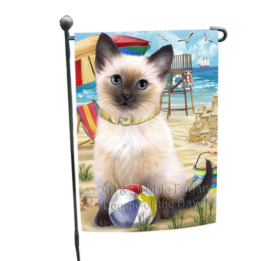 Pet Friendly Beach Siamese Cat Garden Flag GFLG51596