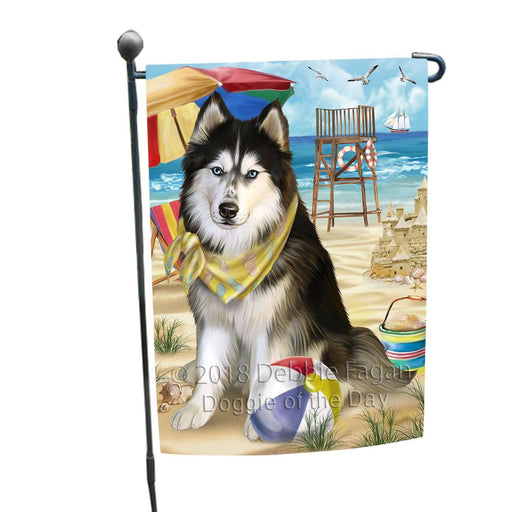 Pet Friendly Beach Siberian Husky Dog Garden Flag GFLG48607