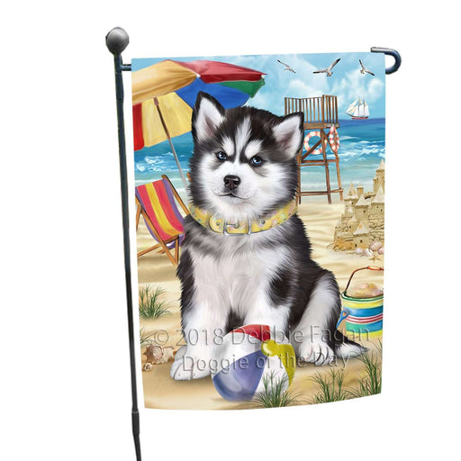 Pet Friendly Beach Siberian Husky Dog Garden Flag GFLG48609