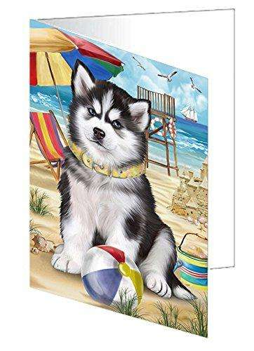 Pet Friendly Beach Siberian Husky Dog Greeting Card GCD50129