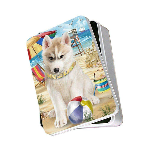 Pet Friendly Beach Siberian Husky Dog Photo Storage Tin PITN48696