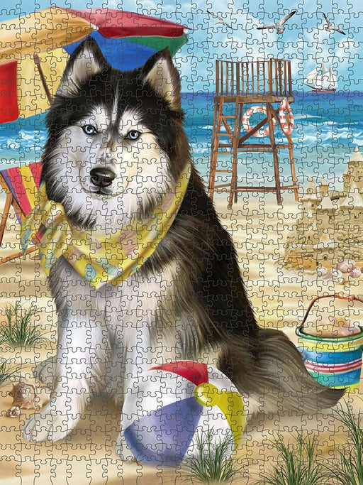 Pet Friendly Beach Siberian Husky Dog Puzzle with Photo Tin PUZL49800