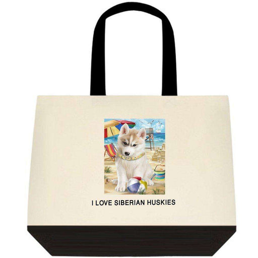 Pet Friendly Beach Siberian Husky Dog Two-Tone Deluxe Classic Cotton Tote Bag TTT48511