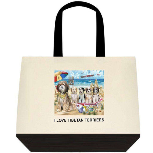 Pet Friendly Beach Tibetan Terriers Dog Two-Tone Deluxe Classic Cotton Tote Bag TTT48514