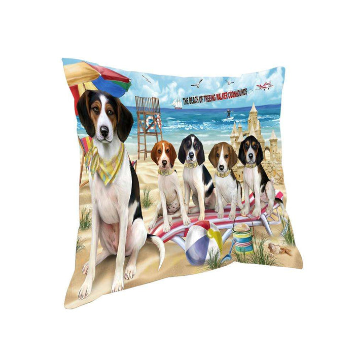 Pet Friendly Beach Treeing Walker Coonhounds Dog Pillow PIL56256