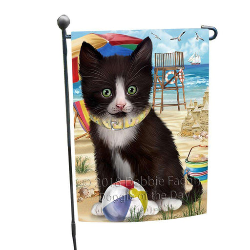 Pet Friendly Beach Tuxedo Cat Garden Flag GFLG51607