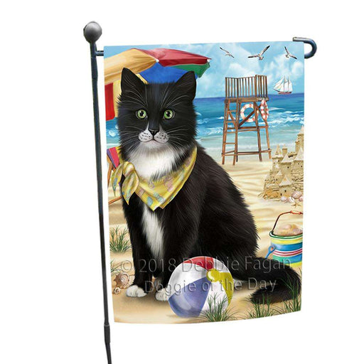 Pet Friendly Beach Tuxedo Cat Garden Flag GFLG51611