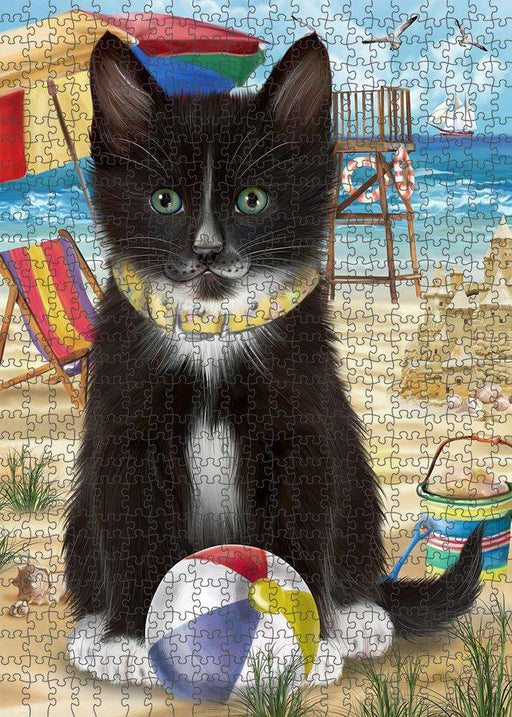 Pet Friendly Beach Tuxedo Cat Puzzle with Photo Tin PUZL58923