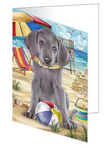 Pet Friendly Beach Weimaraner Dog Greeting Card GCD50153