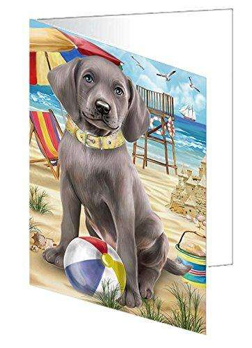 Pet Friendly Beach Weimaraner Dog Greeting Card GCD50156