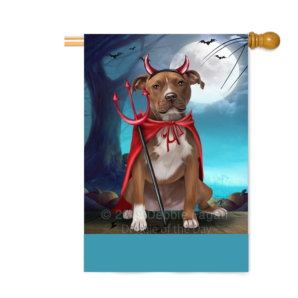 Personalized Happy Halloween Trick or Treat Pibull Dog Devil Custom House Flag FLG64172