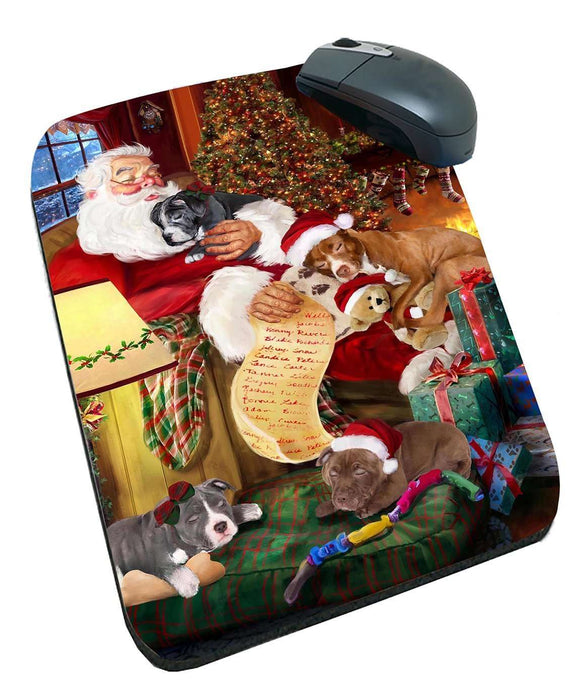 Pit Bull Dog and Puppies Sleeping with Santa Mousepad