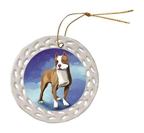 Pit Bull Dog Christmas Doily Ceramic Ornament