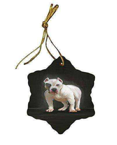 Pit Bull Dog Christmas Snowflake Ceramic Ornament